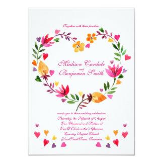 モダンな花のハートの結婚式招待状 カード
