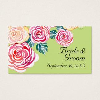モダンな花のバラの近代美術の花の結婚式 名刺