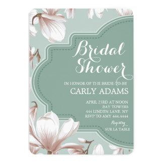 モダンな花のマグノリアのブライダルシャワーの招待状 カード