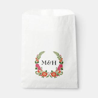 モダンな花のリースの結婚式の引き出物のバッグ フェイバーバッグ