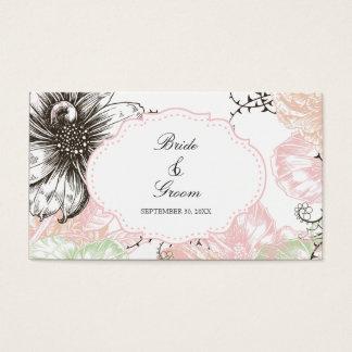 モダンな花のヴィンテージの写実的な花のピンクの黒 名刺