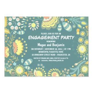 モダンな花の庭のティール(緑がかった色)の婚約パーティ カード