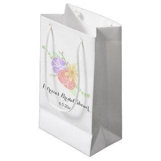 モダンな花の水彩画のブライダルシャワー スモールペーパーバッグ