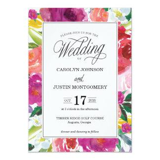 モダンな花の水彩画の結婚式招待状 カード