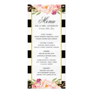 モダンな花の白黒のストライプのな|結婚メニュー ラックカード
