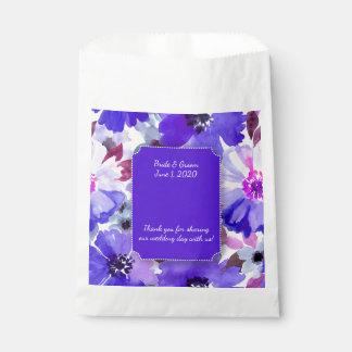 モダンな花の紫色の水彩画の結婚式の引き出物のバッグ フェイバーバッグ