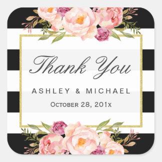 モダンな花の装飾の白黒のストライプは感謝していしています スクエアシール