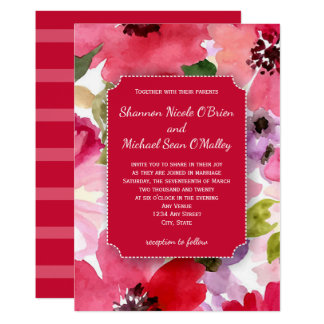 モダンな花の赤い水彩画の結婚式招待状 カード