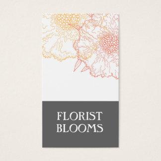 モダンな花屋の名刺の灰色のオレンジ赤 名刺