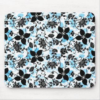 モダンな花柄のマウスパッド-黒か青または白 マウスパッド