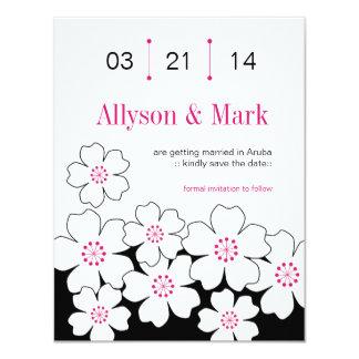 モダンな花柄の保存日付カード カード