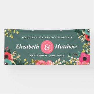 モダンな花柄の大きくカスタムな結婚式の旗 横断幕