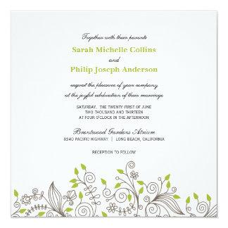 モダンな花柄の空想の渦巻の結婚式招待状 カード