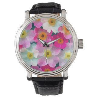 モダンな花-ピンクのマゼンタの黄色い白い花 腕時計