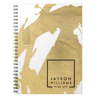 モダンな芸術家の抽象芸術の模造のな金ゴールドブラシストローク ノートブック