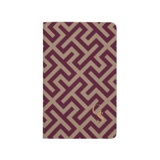 モダンな茶色のギリシャ人の鍵幾何学的なパターンモノグラム ポケットジャーナル
