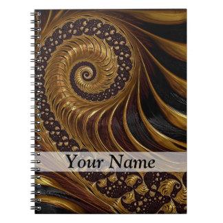 モダンな茶色のフラクタルの螺線形パターン ノートブック