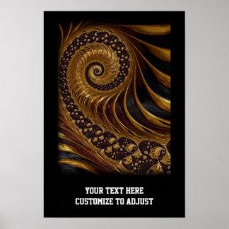 モダンな茶色のフラクタルの螺線形パターン ポスター
