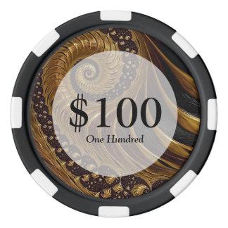 モダンな茶色のフラクタルの螺線形パターン ポーカーチップ