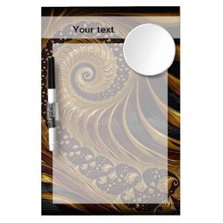 モダンな茶色のフラクタルの螺線形パターン ミラー付きホワイトボード