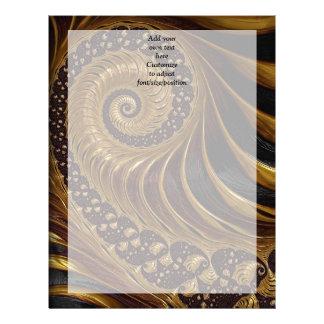 モダンな茶色のフラクタルの螺線形パターン レターヘッド