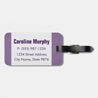 モダンな荷物のラベル-きれいなシンプル、魔法の紫色 ラゲッジタグ