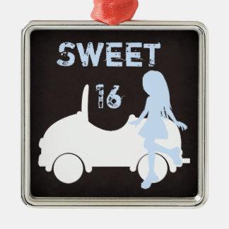 モダンな菓子16のシルエット女の子および車 メタルオーナメント