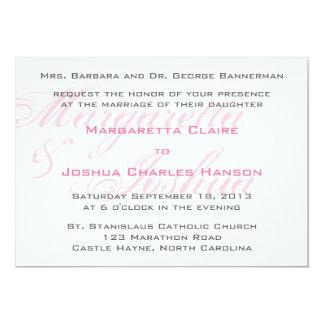 モダンな華麗さのピンクの結婚式招待状 12.7 X 17.8 インビテーションカード