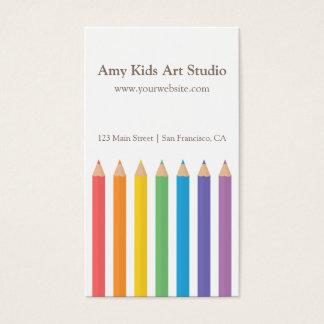 モダンな虹の着色は芸術の供給を書きます 名刺