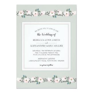 モダンな賢人および赤面のピンクの花の結婚式の招待 カード
