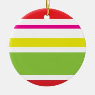 モダンな赤およびライムグリーンのクリスマス セラミックオーナメント