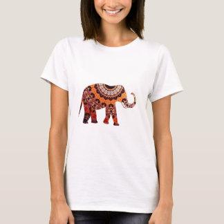 モダンな赤の抽象芸術象 Tシャツ
