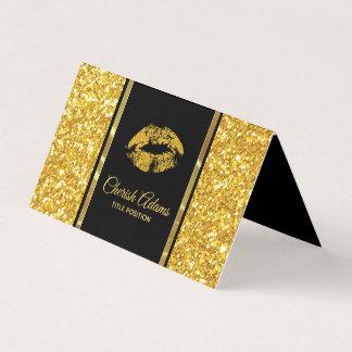モダンな金ゴールドのグリッターおよび唇 名刺