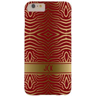 モダンな金ゴールドのシマウマのストライプなバーガンディの背景 BARELY THERE iPhone 6 PLUS ケース