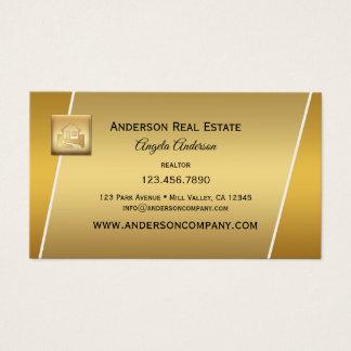 モダンな金ゴールドのロゴの専門の不動産仲介業者Businesscard 名刺