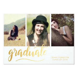 モダンな金ゴールドの卒業生の原稿 の3写真 カード