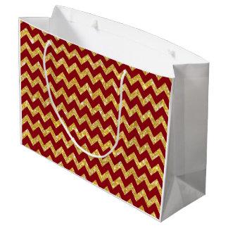 モダンな金ゴールドの模造のなグリッターのシェブロンパターン ラージペーパーバッグ