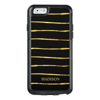 モダンな金ゴールドの黒のストライプのオッターボックスのiPhone 6/6sの場合 オッターボックスiPhone 6/6sケース