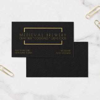 モダンな金ゴールドの黒のレストランのバービジネス 名刺