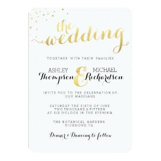 モダンな金ゴールドホイルの魅力の結婚式招待状 カード