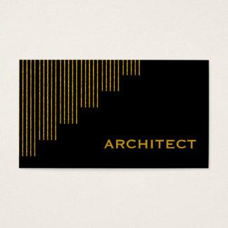 モダンな金ゴールド、黒い縦ストライブ柄の建築家 名刺