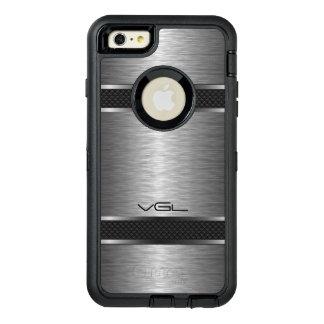 モダンな金属灰色の質及びストライプなアクセント オッターボックスディフェンダーiPhoneケース
