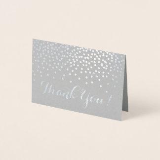 モダンな銀ぱくの紙吹雪は灰色に感謝していしています点を打ちます 箔カード