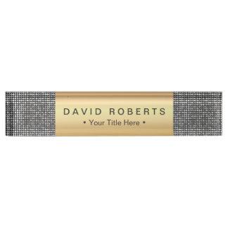 モダンな銀製のスパンコールのエレガントな王室のな金ゴールドのラベル デスクネームプレート