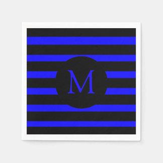 モダンな電気青および黒いストライプのモノグラム スタンダードカクテルナプキン