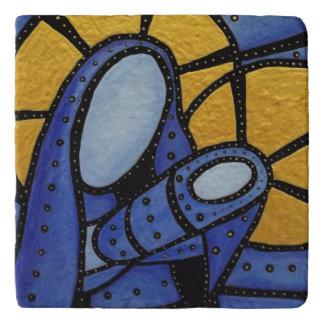 モダンな青の抽象芸術の母および子供 トリベット