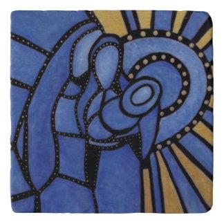 モダンな青の抽象芸術の神聖な家族 トリベット