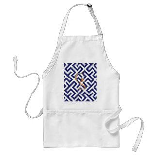 モダンな青の抽象芸術幾何学的なパターンモノグラム スタンダードエプロン