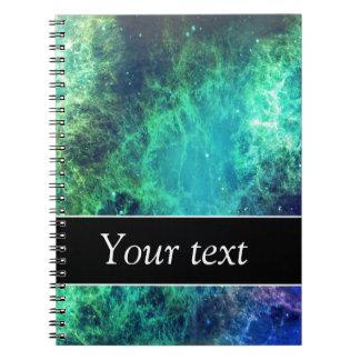 モダンな青緑の宇宙水星雲のモノグラム ノートブック
