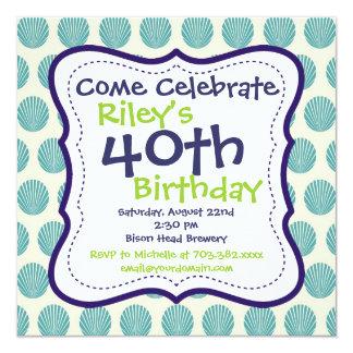 モダンな青緑の第40誕生日のパーティの招待状 13.3 スクエアインビテーションカード